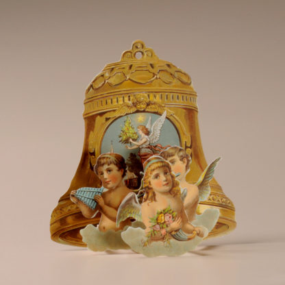 3D Themed Christmas Card - Angels and Bell