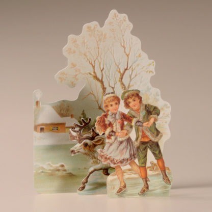 3D Themed Christmas Card - Children and Reindeer