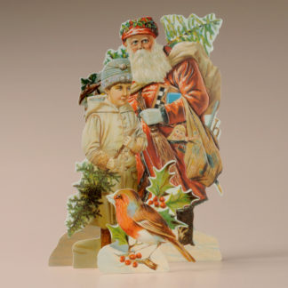 3D Themed Christmas Card - Father Christmas & Little Boy