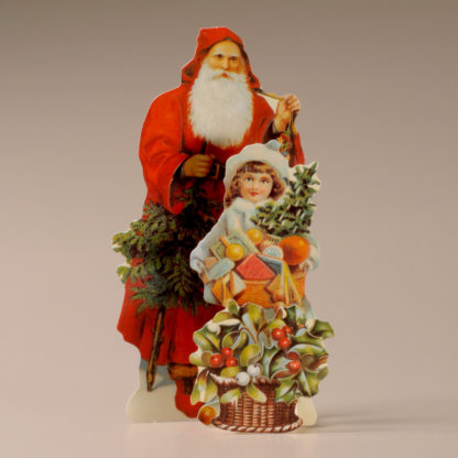 3D Themed Christmas Card - Father Christmas & Little Girl