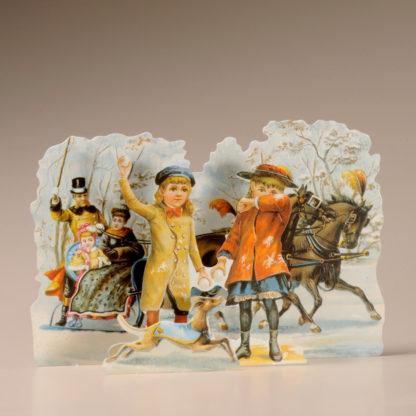 3D Themed Christmas Card - Horse-drawn Sleigh