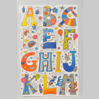 Alphabet (A-M) Foiled Scrap Sheet