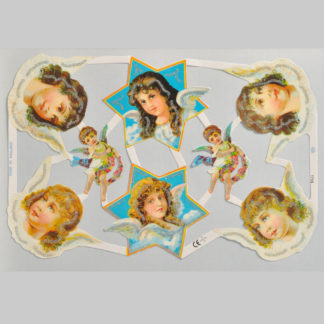 Angels and Cherubs Glittered Scrap Relief