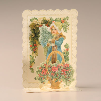 Christmas Cascade Card - Girl with Flowers and Holly