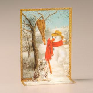Christmas Cascade Card - Snowman and Cat