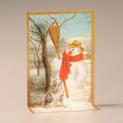 Christmas Cascade Card - Snowman and Cat