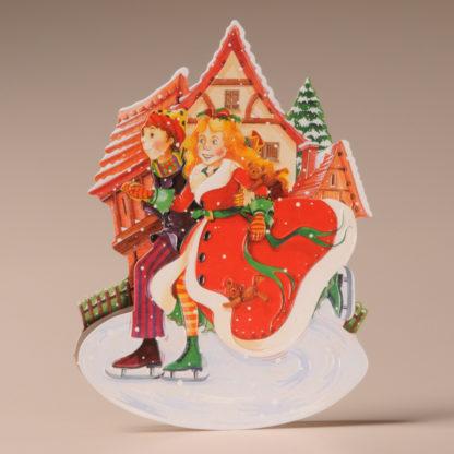 Christmas Rocker Card - Ice Skating Boy and Girl