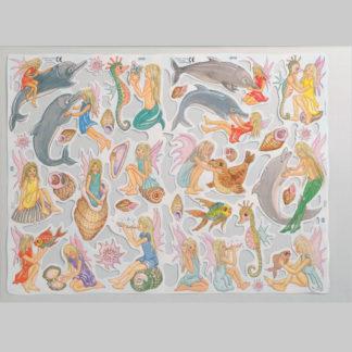 Dolphins, Sea-fairies and Shells Scrap Sheet