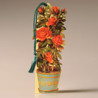 Floral Bookmark Card - Roses in an Ornate Pot
