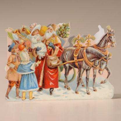 Nostalgic Christmas Card - Children & Father Christmas