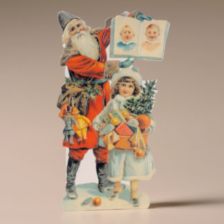 Nostalgic Christmas Card - Father Christmas and Girl