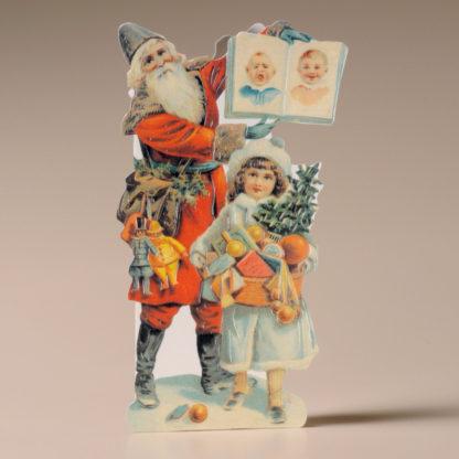 Nostalgic Christmas Card - Father Christmas and Girl