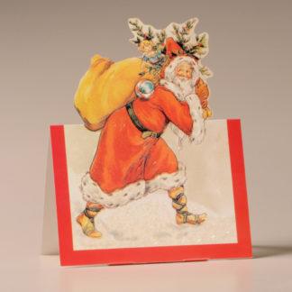 Nostalgic Christmas Card - Father Christmas and Tree
