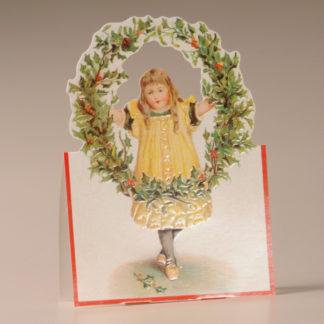 Nostalgic Christmas Card - Girl and Holly Wreath