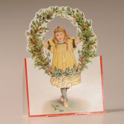 Nostalgic Christmas Card - Girl and Holly Wreath