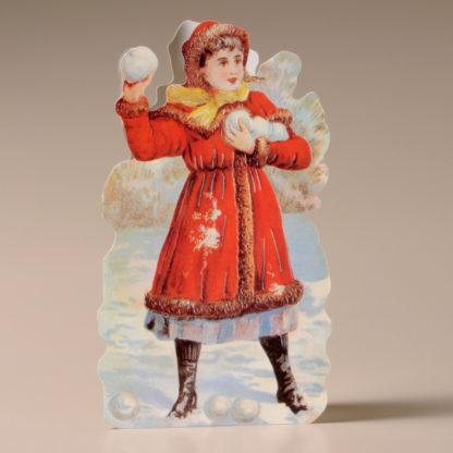Nostalgic Christmas Card - Girl in the Snow