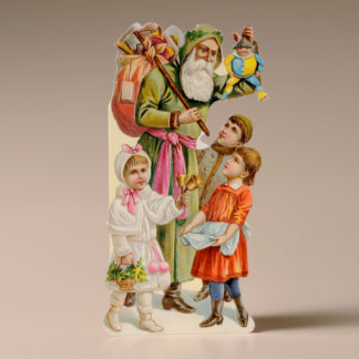 Nostalgic Christmas Card - Santa, Children and Toys