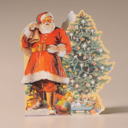 Nostalgic Christmas Card - Santa, Tree and Toys