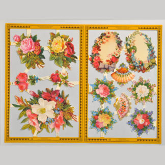 Posies and Flower Borders Golden Scrap Sheet